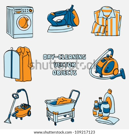 Dry-cleaning and laundry vector objects - stock vector