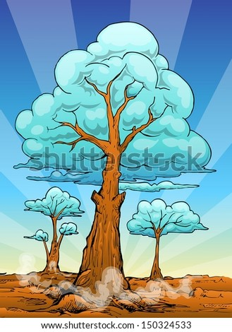 dry tree landscape with cloud background in cartoon hand draw style - stock vector