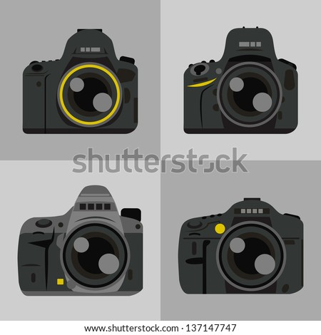 DSLR camera icon, vector - stock vector