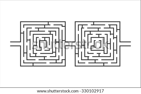 dual difficult and long maze educational game like glasses white - stock vector