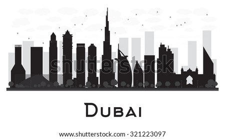Dubai City skyline black and white silhouette. Vector illustration. Simple flat concept for tourism presentation, banner, placard or web site. Business travel concept. Cityscape with famous landmarks - stock vector