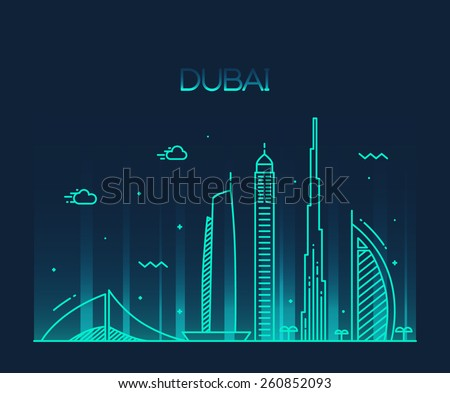Dubai City skyline detailed silhouette. Trendy vector illustration, line art style. - stock vector