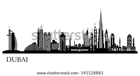 Dubai City skyline detailed silhouette. Vector illustration. - stock vector