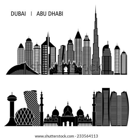 Dubai City skyline detailed silhouette. Vector illustration - stock vector