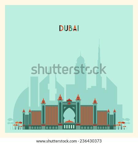 Dubai City skyline silhouette. Flat design, trendy vector illustration - stock vector