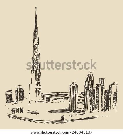 Dubai City skyline silhouette. Hand drawn, engraved vector illustration - stock vector