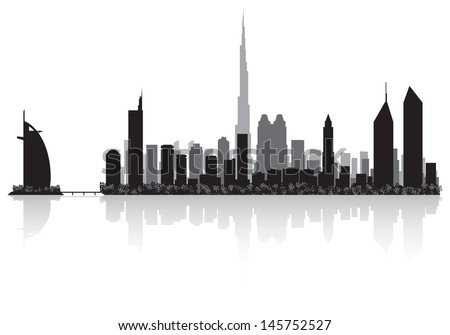 Dubai city skyline silhouette vector illustration  - stock vector