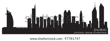 Dubai, Emirates skyline. Detailed vector silhouette - stock vector
