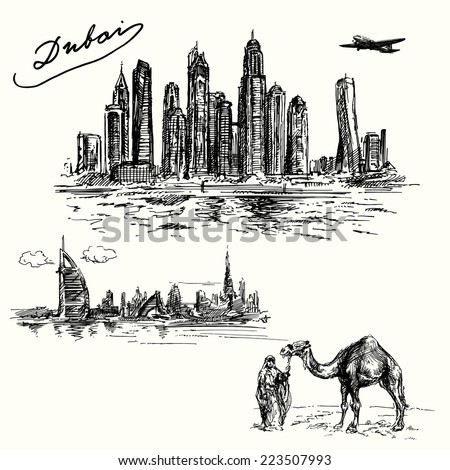 Dubai - hand drawn set - stock vector