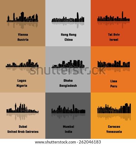 Dubai, Lima, Tel Aviv, Caracas, Vienna,Lagos, Dhaka, Hong Kong, Mumbai (Set of 9 Metropolis) - stock vector