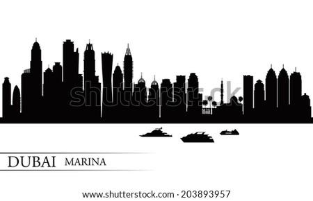 Dubai Marina City skyline silhouette background, vector illustration  - stock vector