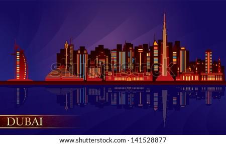 Dubai night city skyline. Vector silhouette illustration - stock vector