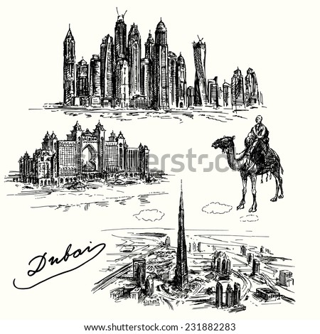 Dubai - set of hand drawn illustration - stock vector