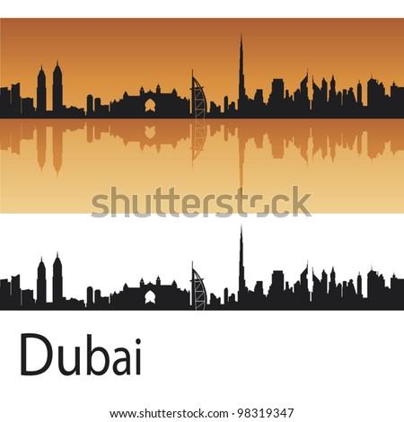 Dubai skyline in orange background in editable vector file - stock vector