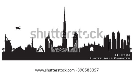 Dubai UAE skyline Detailed vector silhouette - stock vector