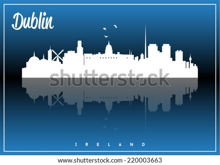 Dublin, Ireland skyline silhouette vector design on parliament blue and black background. - stock vector