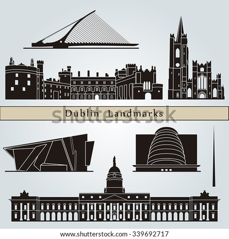 Dublin landmarks and monuments isolated on blue background in editable vector file - stock vector