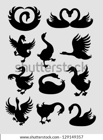 Duck and Swan Silhouettes. Smooth and detail line vector. Good use for symbol design. Very easy to change color. - stock vector