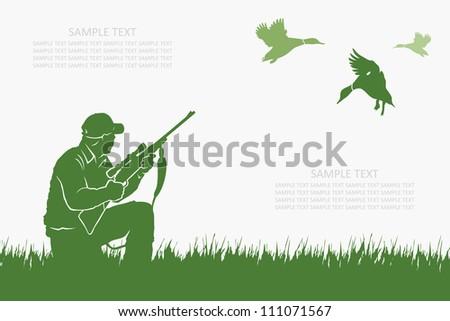 Duck hunter - vector illustration - stock vector