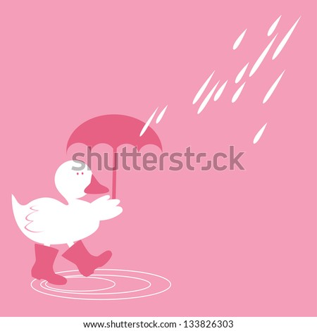 Duck in Spring Showers Cute Duck in honeysuckle pink color splashing about in puddles in Spring rain. - stock vector