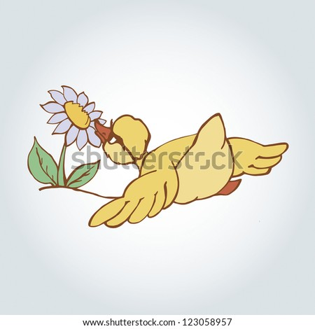 duckling cartoon character vector illustration - stock vector