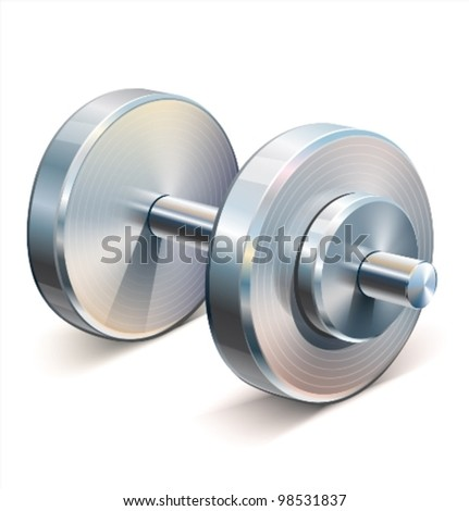 Dumbbell vector illustration of a single dumbbell used in weight lifting and fitness workouts. - stock vector