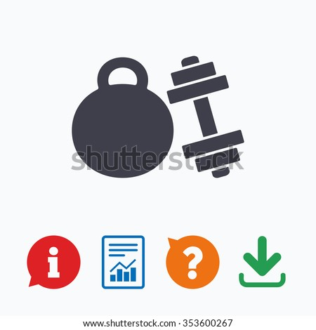 Dumbbell with kettlebell sign icon. Fitness sport symbol. Gym workout equipment. Information think bubble, question mark, download and report. - stock vector