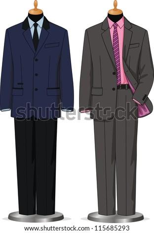 Dummies show a set of men's business wear - stock vector