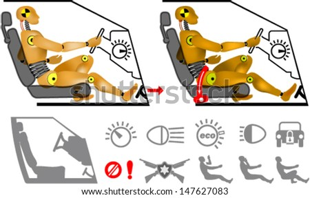 Dummy in the car with set of icons - stock vector