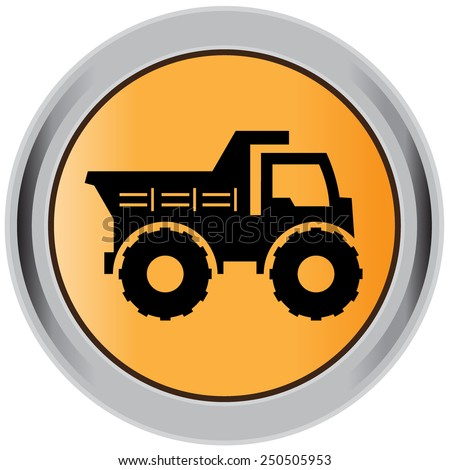 Dump, truck, construction, machinery, equipment, icon - stock vector