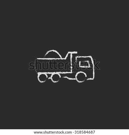 Dump truck hand drawn in chalk on a blackboard vector white icon isolated on a black background. - stock vector