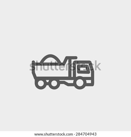 Dump truck icon thin line for web and mobile, modern minimalistic flat design. Vector dark grey icon on light grey background. - stock vector