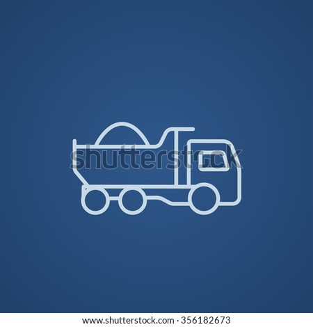 Dump truck line icon for web, mobile and infographics. Vector light blue icon isolated on blue background. - stock vector
