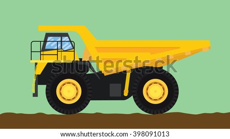 dump truck yellow isolated with big wheel and dirt  - stock vector