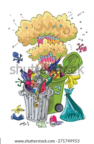 Dumpster with mushroom cloud - symbol of environmental pollution - caricature cartoon - stock vector