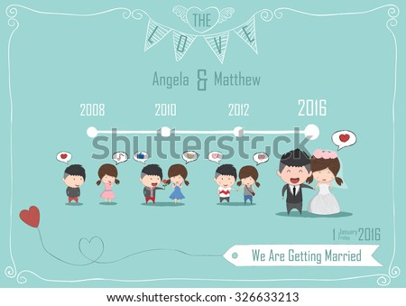Duration cute cartoon Wedding couple men and women card, cute card, drawing by hand vector and digital illustration created without reference image. - stock vector