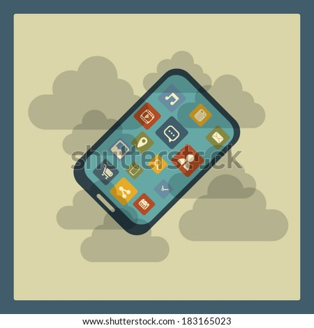 Dust resistant smartphone concept illustration. Eps10 vector illustration - stock vector