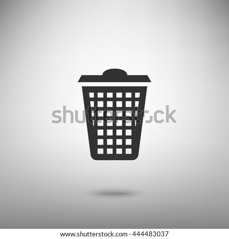Dustbin vector icon. Dark gray icon with shadow on floor. - stock vector