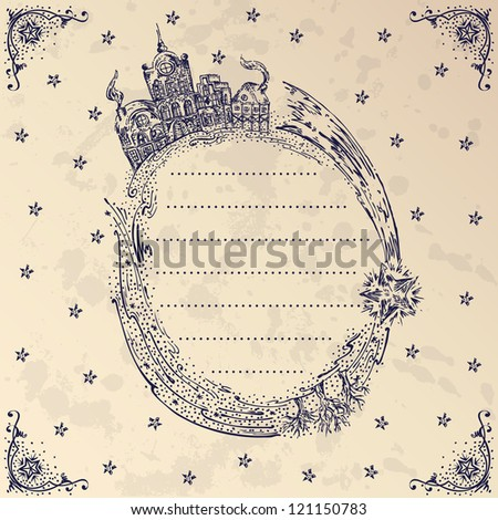 Dutch Delft blue hand-drawn frame - stock vector