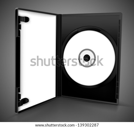 dvd box open with paper - stock vector