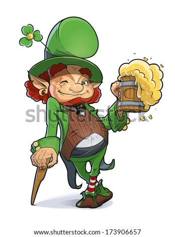 Dwarf with beer. Illustration for saint Patricks day. Eps10 vector illustration. Isolated on white background - stock vector