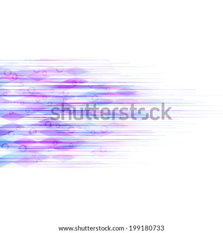 Dynamic abstract vector background. Horizontal lines with rings and rhombuses. - stock vector