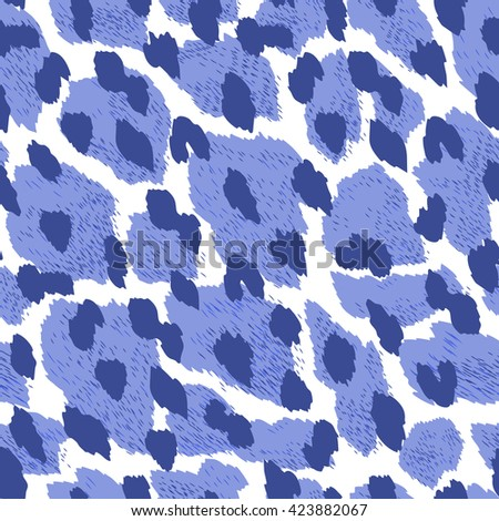 Dynamic animal seamless pattern in clue colors with abstract spots like leopard fur. Creative pattern for fashion clothes, wallpaper, home decor textile. Vector background. - stock vector