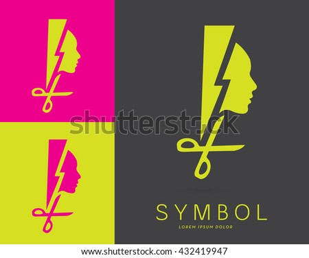DYNAMIC DESIGN, VECTOR LOGO / ICON OF A HEAD SILHOUETTE INCORPORATED WITH A LIGHTNING AND A PAIR OF SCISSORS .  - stock vector
