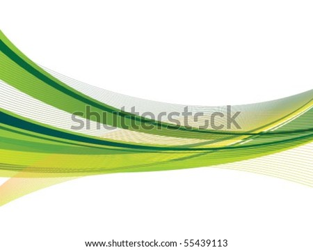 Dynamic Green and Yellow Swoosh - stock vector