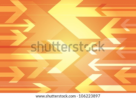 Dynamic orange background of opposing arrows in a variety of sizes facing towards each other - stock vector
