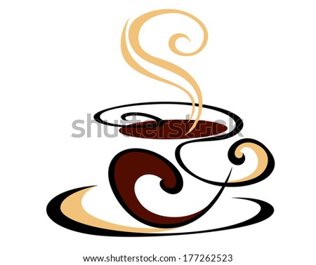 Dynamic swirling cup of delicious hot steaming coffee doodle logo in shades of brown - stock vector
