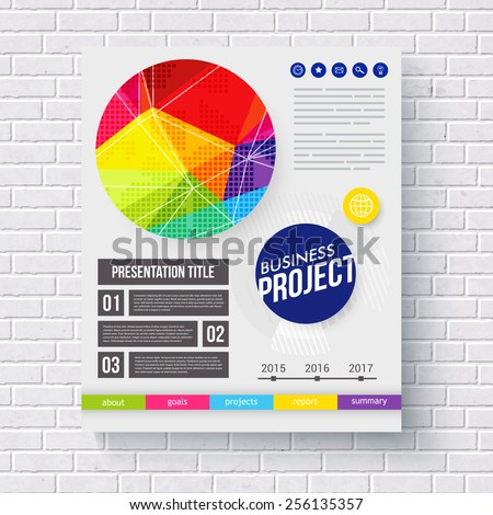 Dynamic vibrant colorful frontispiece for a Business Project with a circular geometric design and editable text spaces, vector illustration - stock vector