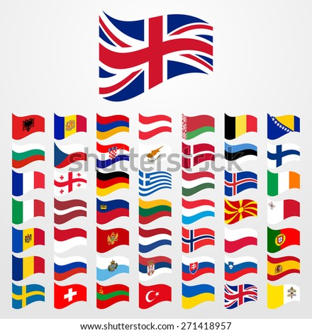 Dynamic waving flag collection 2/6 Europe - stock vector