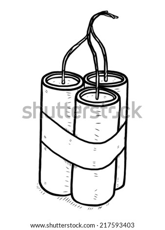 dynamite sticks / cartoon vector and illustration, black and white, hand drawn, sketch style, isolated on white background. - stock vector